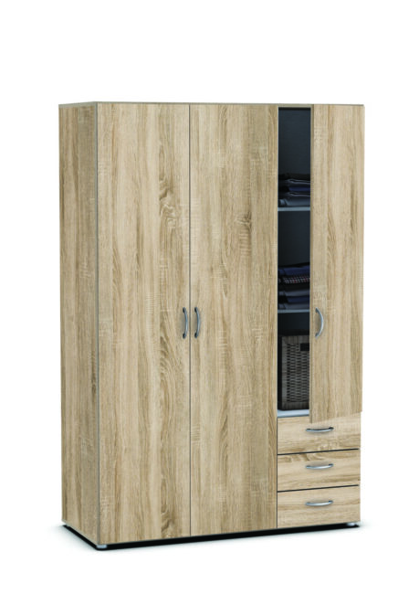 armoire 3 portes 3 tiroirs 59259 tahiti pas cher. Black Bedroom Furniture Sets. Home Design Ideas